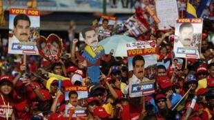 Comício de Nicolas Maduro em Caracas no dia 11 de abril.