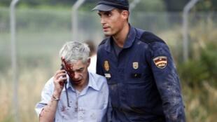 El maquinista Francisco José Garzón (izquierda) después del accidente, el 27 de julio de 2013.