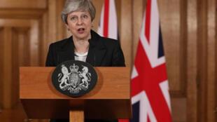 La Première ministre britannique Theresa May fait une déclaration sur le Brexit à Downing Street à Londres, le 20 mars 2019.