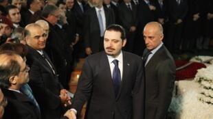 Saad Hariri lors de la commémoration des six ans de l'assassinat de son père, Rafic Hariri, à Beyrouth, le 14 février 2011.