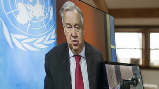 UN chief Antonio Guterres, pictured during a virtual press conference on April 3, 2020, hopes for a COVID-19 vaccine by the end of 2020
