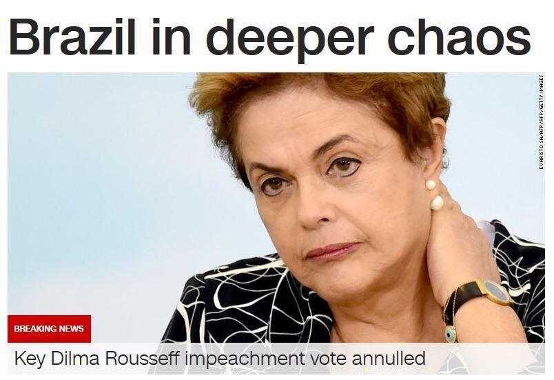 "A CNN destaca o ""caos"" do momento político no Brasil."