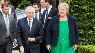 O presidente Michel Temer se encontrou com a primeira-ministra da Noruega, Erna Solberg, em Oslo nesta sexta-feira (23)..