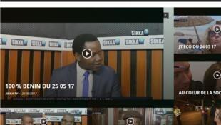 Site internet de la chaîne de télévision béninoise Sikka TV, le 26 mai 2017.