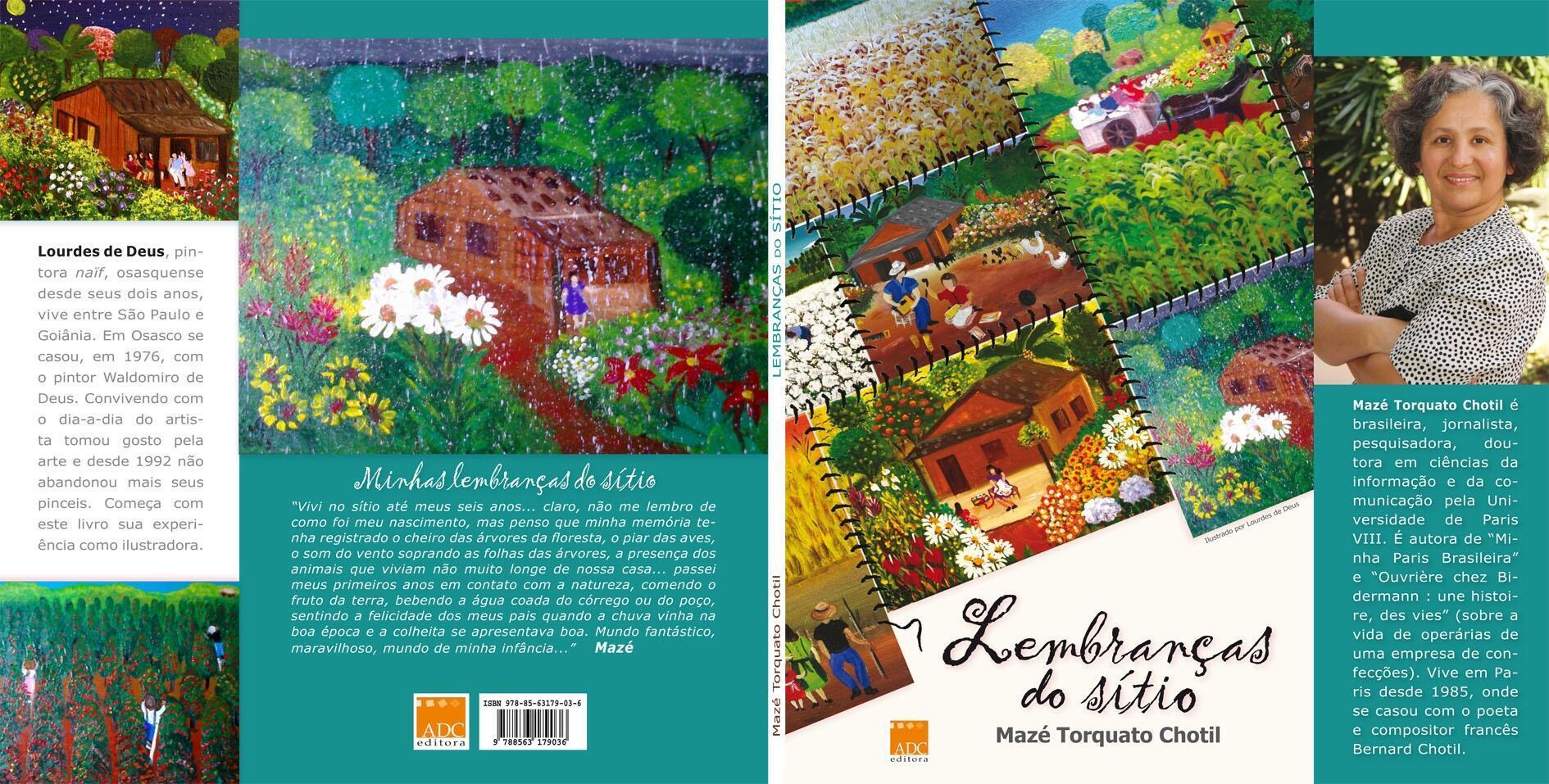 """Capa do livro """"Lembranças do sítio"""", ilustrado por Lourdes de Deus."""