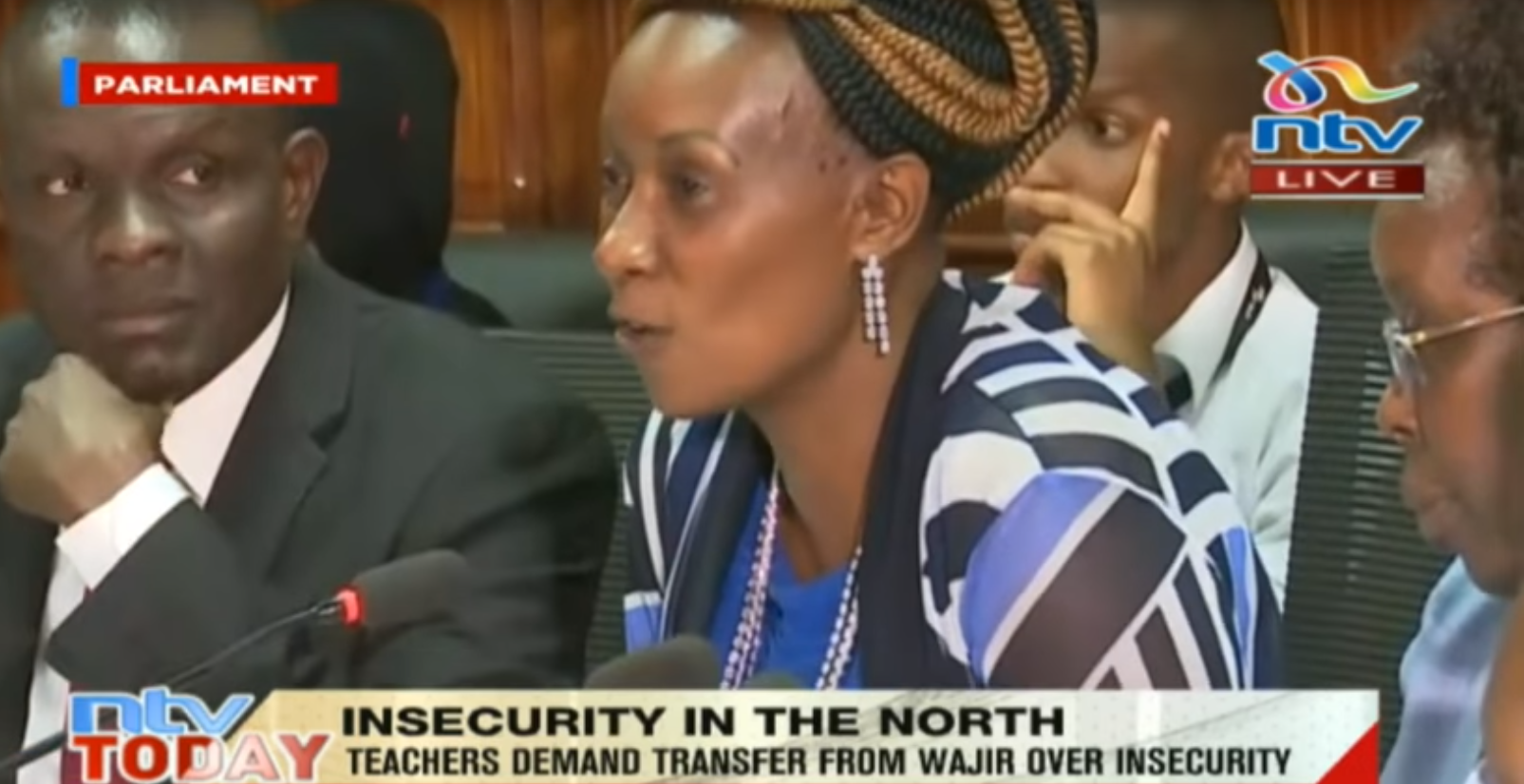 Capture d'écran de la télévision NTV Kenya. Les professeurs de Wajir, dans le nord du pays, demande leur transfert pour des raisons de sécurité.