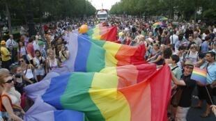 La Gay Pride dans les rues de Budapest, le 6 juillet 2013.