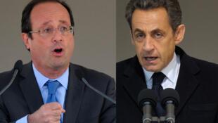 Hai ứng cử viên tổng thông Pháp 2012 : François Hollande (trái) và Nicolas Sarkozy (phải)
