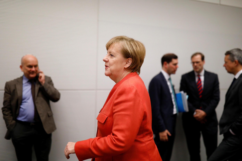 La chancelière sortante, Angela Merkel, fait face à sa crise la plus sérieuse depuis son accession au pouvoir. Berlin, le 20 novembre 2017.