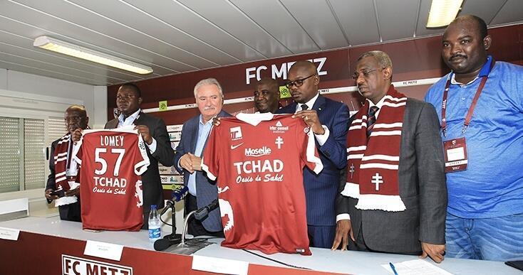 Lors de la présentation du partenariat entre le FC Metz et l'Office tchadien du tourisme.