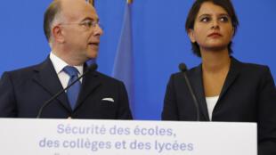 وزرای آموزش و پرورش و کشور فرانسه در کنفرانس خبری روز چهارشنبه در پاریس