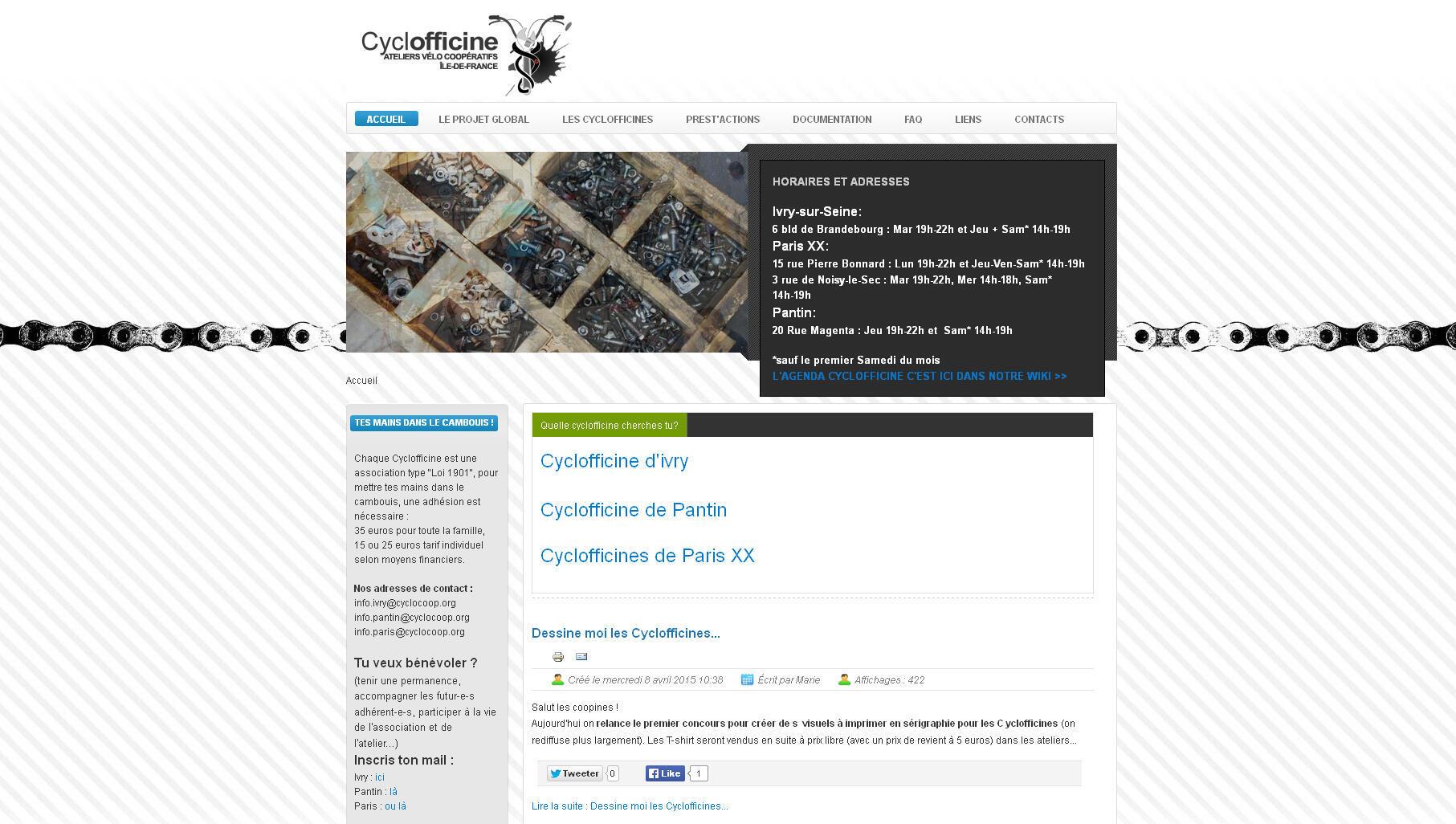 Cyclofficine, ateliers vélo coopératifs en Ile-de-France.