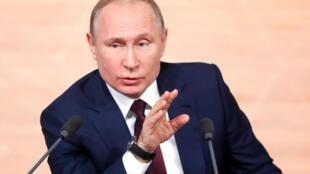 El presidente ruso Vladimir Putin durante su conferencia de prensa de fin de año en Moscú, el 19 de diciembre de 2019.