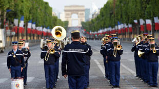 Members of Republican Guard band take part in a Bastille day rehearsal on July 12, 2015 in Paris.