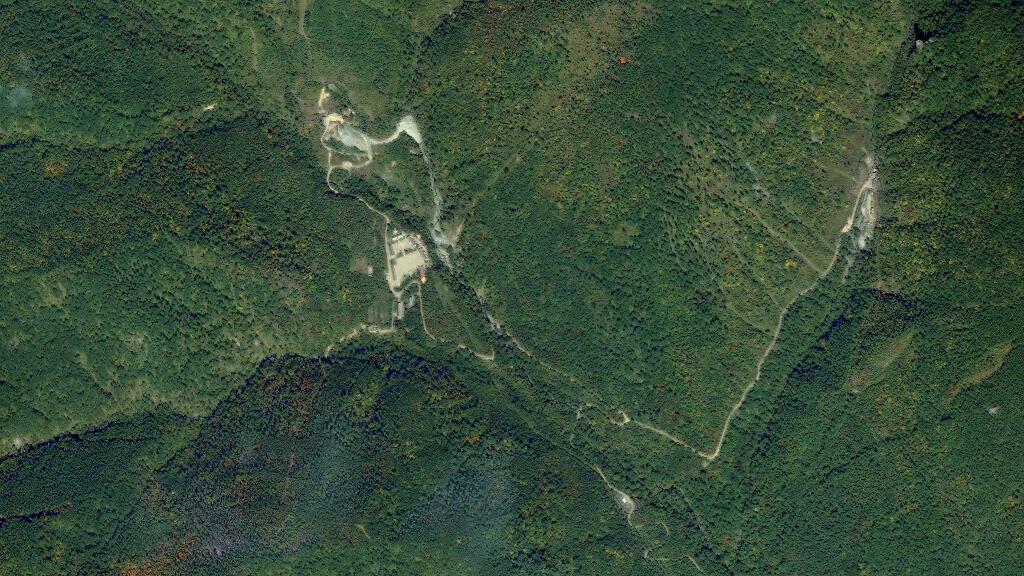 La zone d'essais nucléaires de Kilju en Corée du Nord. (Image satellite prise en 2006)