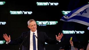 Benny Gantz a tenu son premier meeting dans le cadre de la campagne législative israélienne à Tel Aviv, le 29 janvier 2019.