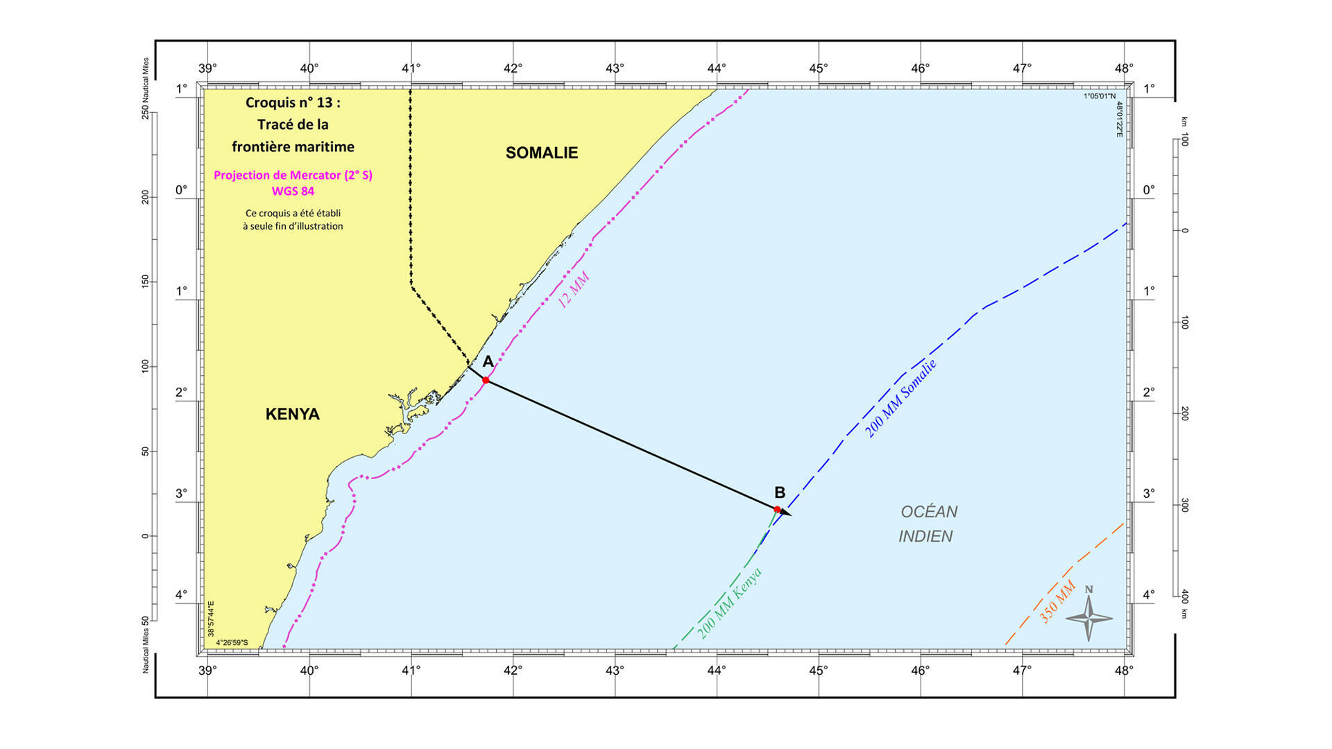Somalie - Kenya - Conflit maritime - Croquis - Tracés - Frontière maritime