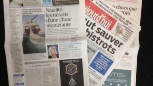 Capas do jornais franceses desta quarta-feira, 20 de janeiro de 2016.