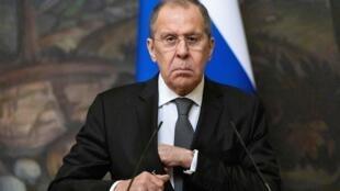 El ministro ruso Serguéi Lavrov, durante una rueda de prensa que dio el 5 de mayo de 2021 en Moscú