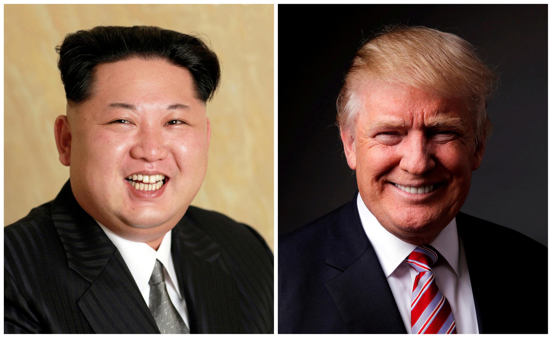 Montagem fotográfica mostrando o Presidente norte - coreano Kim Jong e o Presidente norte-americano Donald Trump