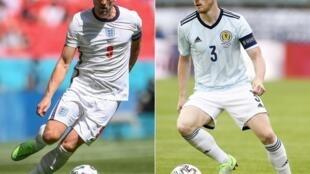 A gauche, l'attaquant anglais Harry Kane au stade de Wembley à Londres le 13 juin 2021, et à droite, le défenseur écossais Andy Robertson au stade Josy Barthel au Luxembourg le 6 juin 2021.
