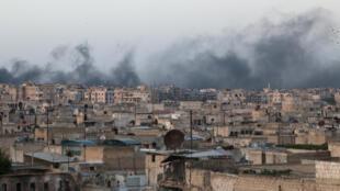 La ciudad de Alepo asediada por los bombardeos, 29 de abril del  2016.