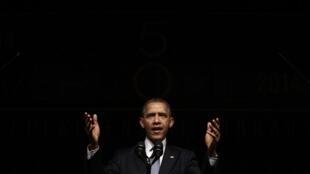 Le président Barack Obama, lors d'un discours devant le sommet des droits civiques célébrant le cinquantenaire de la signature des lois mettant fin à la ségrégation aux Etats-Unis, au Texas, ce 10 avril 2014.