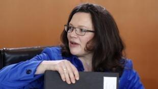 Andrea Nahles en avril 2014, alors ministre de l'Emploi.