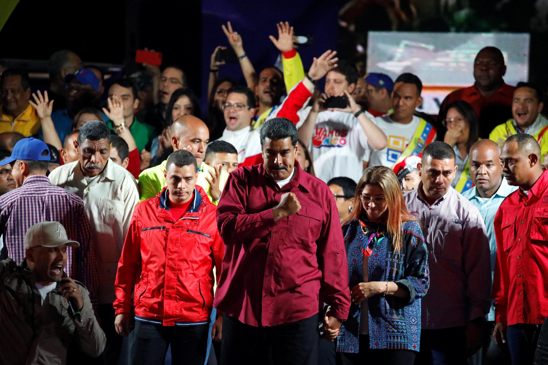 Le président du Venezuela Nicolas Maduro lors de l'annonce de sa réélection, le 20 mai 2018 à Caracas.