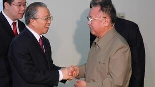 North Korean leader Kim Jong-Il (R) shakes hands with Chinese State Councillor Dai Bingguo in Pyongyang December 9 2010