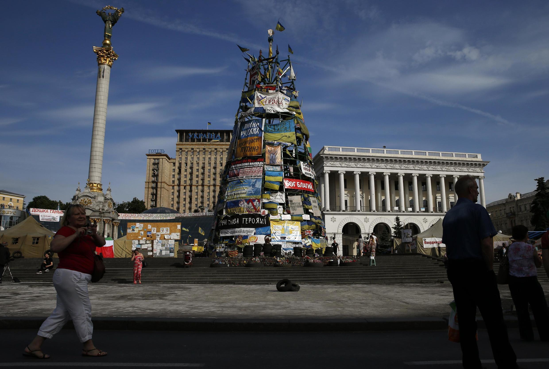 A Praça Maidan,  em Kiev