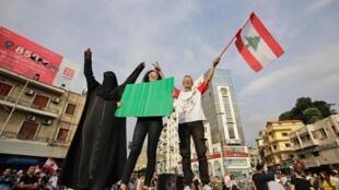Manifestation à Tripoli, au nord du Liban, le 18 octobre 2019.