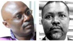 Anaclet Bissielo (G) et Flavien Enongué (D) respectivement  sociologue et politologue gabonais.