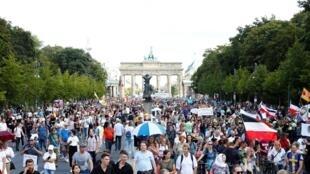Une manifestation anti-masques à Berlin a réuni quelque 18 000 personnes, le 29 août 2020.
