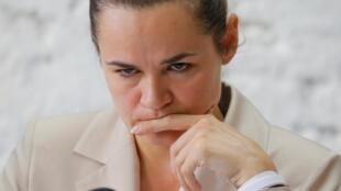 L'opposante et candidate à l'élection présidentielle biélorusse Svetlana Tikhanovskaïa s'est réfugiée en Lituanie.