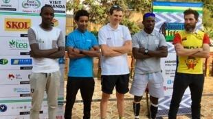 Les favoris du 11e Tour du Rwanda, de g. à d. : Samuel Mugisha (Rwanda), Merhawi Kudus (Erythrée), Rein  Taaramäe (Estonie), Joseph Areruya (Rwanda), Timothy Rugg (Etats-Unis), le 23 février 2019.
