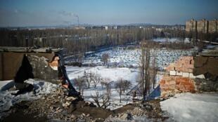 A damaged residential block in Avdiivka, eastern Ukraine