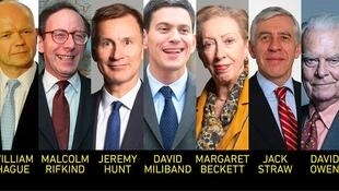 参与签署公开信的七位英国前外相资料图片