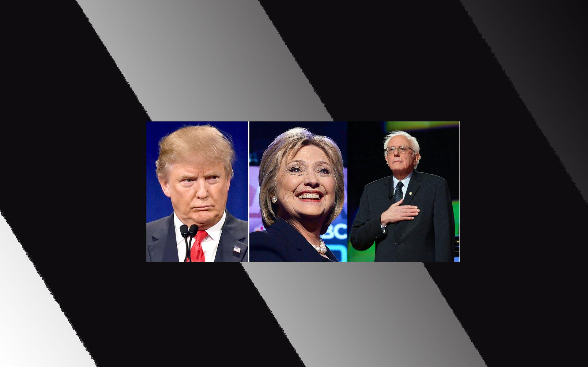 Fotomontagem dos candidatos a presidencial americana: Trump(esq.) Hillary Clinton, e Bernie Sanders