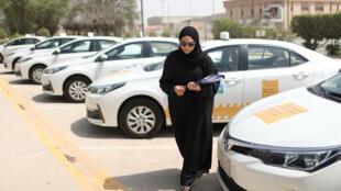 Una instructora de manejo en la escuela Aramco en Dhahran, Arabia Saudita, el 6 de junio de 2018.