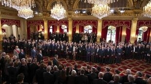 Francois Hollande at the investiture ceremony at the Elysee Palace
