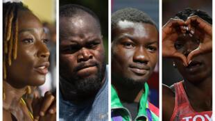 L'Ivoirienne Marie-Josée Ta Lou, le Congolais Franck Elemba, le Burkinabè Hugues Fabrice Zango et la Béninoise Odile Ahouanwanou (de gauche à droite).