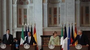 Les quatre dirigeants européens réunis à Rome vendredi 22 juin à Rome