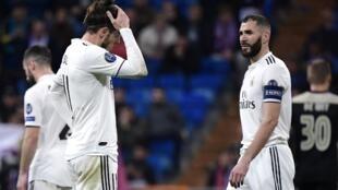 Gareth Bale et Karim Benzema (Real Madrid), le 5 mars 2019, battus 4-1 par l'Ajax.