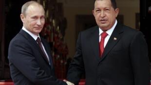 Vladimir Putin y Hugo Chávez en el Palacio de Miraflores, Caracas 2 de abril de 2010