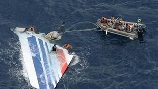 Search crews recover the debris of Air France flight AF447 from the Atlantic Ocean. On 1 June, the passenger plane crashed killing all 228 people on board.