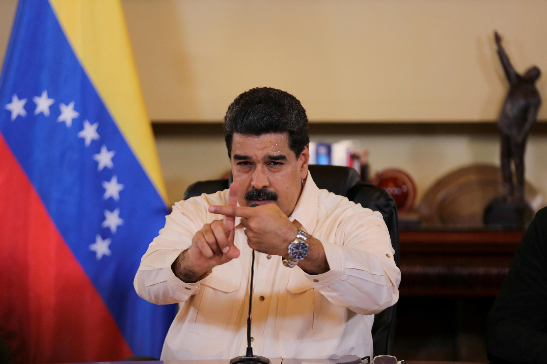 Tổng thống Venezuela Nicolas Maduro trong một cuộc gặp các bộ trưởng và các lãnh đạo địa phương tại Caracas ngày 20/09/2017.