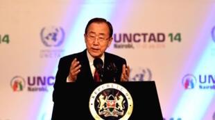 Katibu mkuu wa umoja wa Mataifa, Ban Ki Moon, akizungumza wakati wa ufunguzi wa mkutano wa biashara na maendeleo wa UNCTAD, 17 Julai, 2016