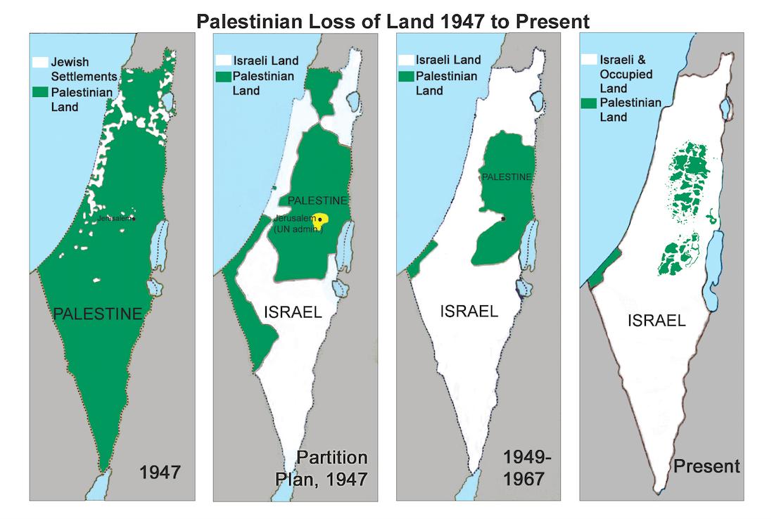 تغییرات سرزمین های فلسطینی و اسرائیل
