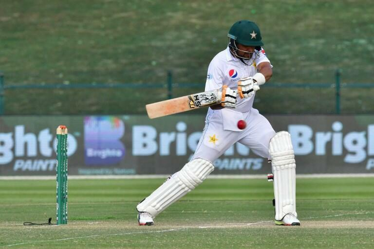 Pakistan cricketer Babar Azam plays a shot in the second test match against Australia.